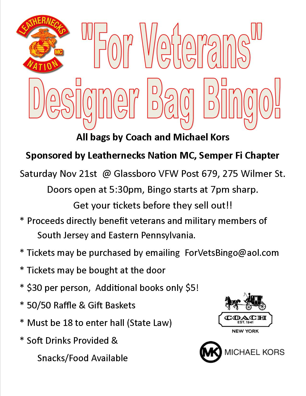 Designer Bag Bingo South Jersey