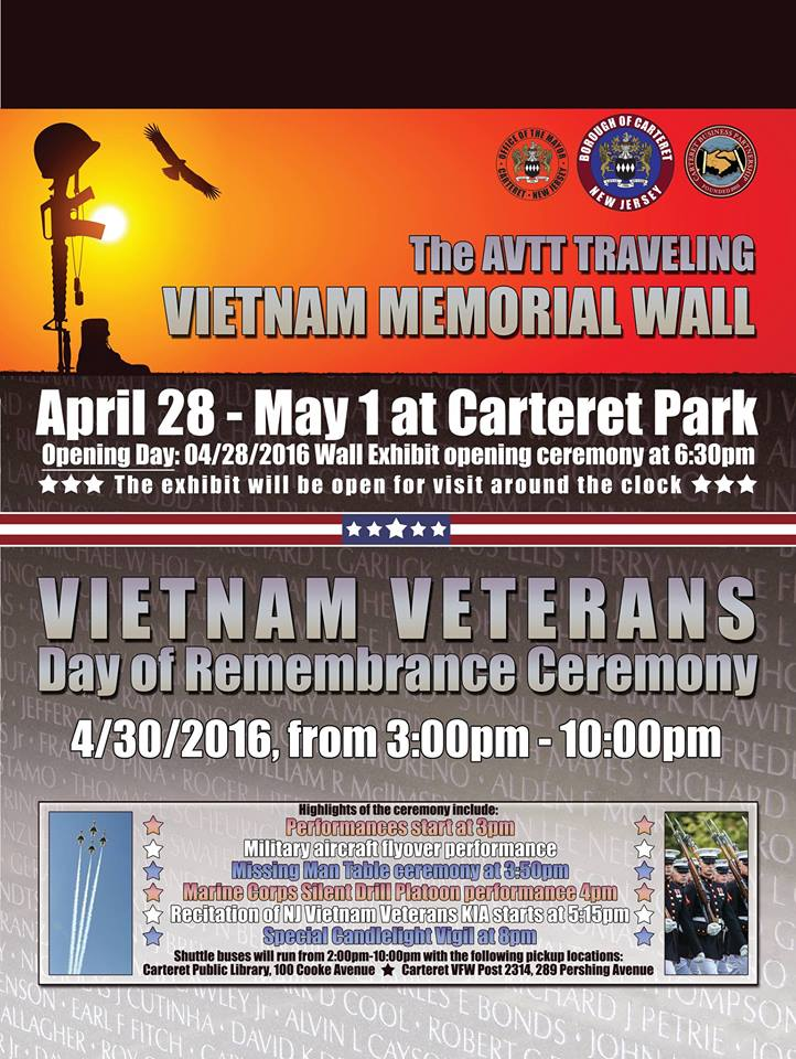 Traveling Vietnam Wall – Carteret, NJ (and Motorcycle Escort