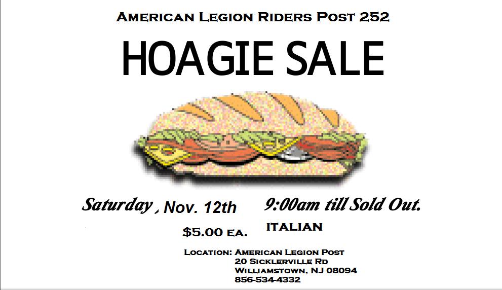 Annual Hoagie Sale - American Legion Riders Williamstown