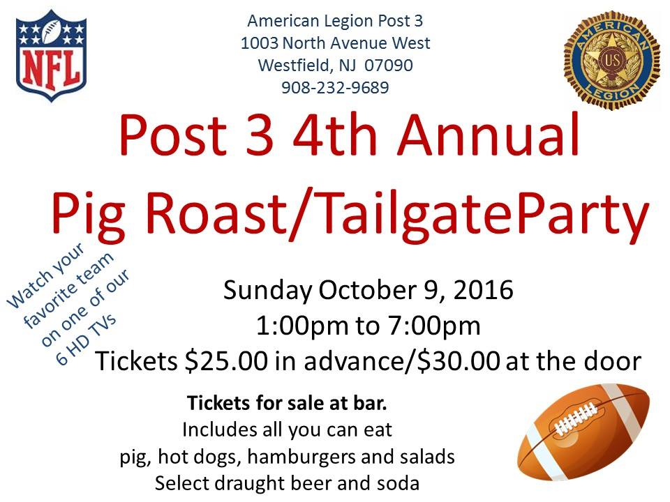 4th Annual Pig Roast/Tailgate Party - Amer Leg