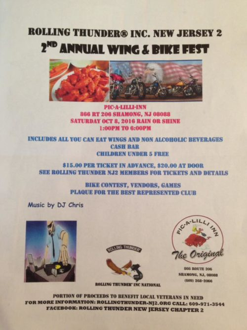 Rolling Thunder inc. New Jersey2   2nd annual wing and bike fest