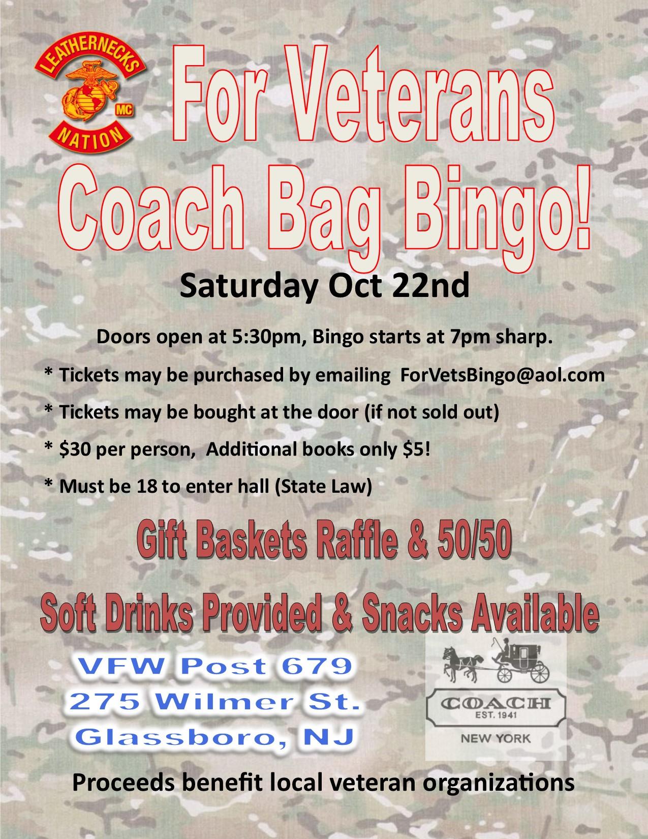 For Veterans Designer Bag Bingo