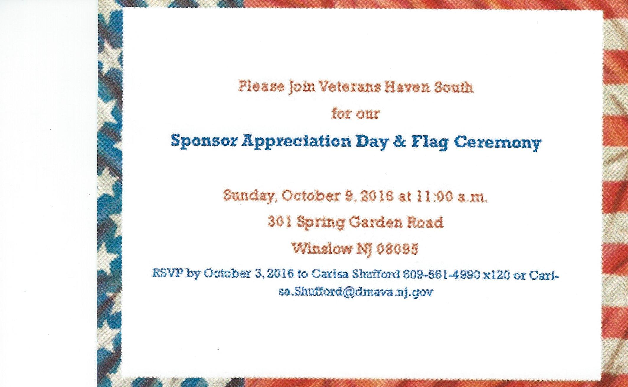 Sponsor Appreciation and Flag Ceremony