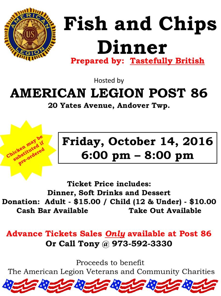 American Legion Post 86 Fish and Chip Dinner Fundraiser