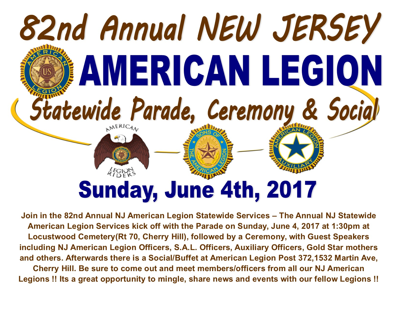 NJ American Legions - 82nd Statewide Service, Parade, Social / Buffet