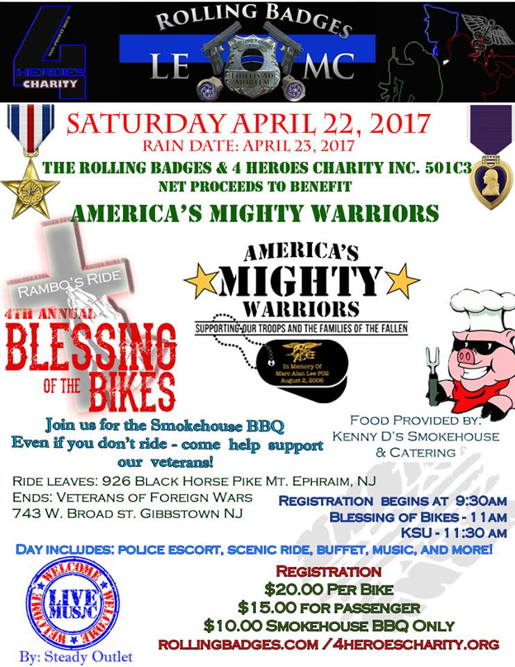 4th Annual Blessing of Bikes, Ride and BBQ - Rolling Badges