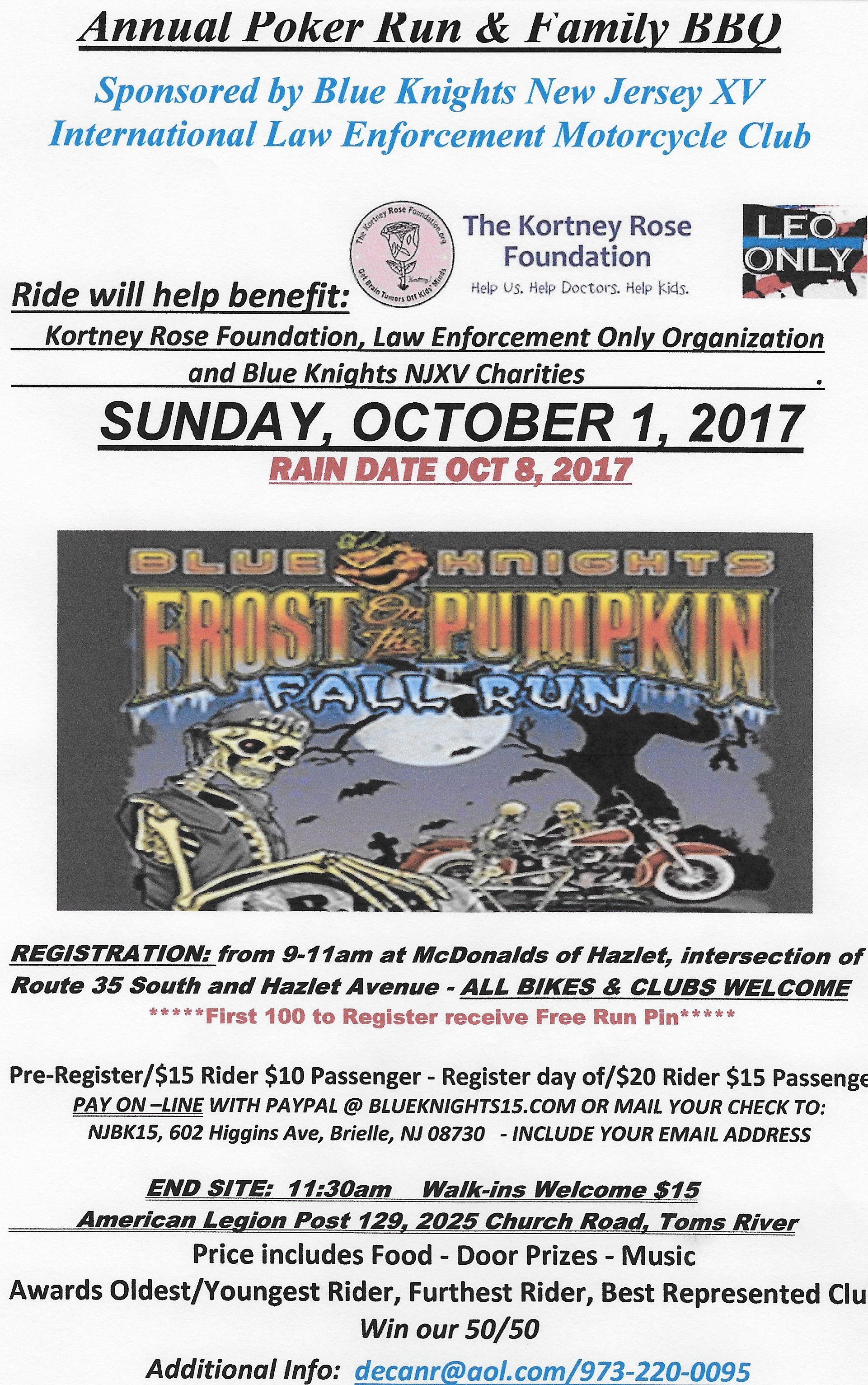 Blue Knights NJXV Frost on the Pumpkin Poker Run & Family BBQ
