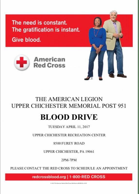 Boothwyn American Legion 951 Blood Drive @ the Upper Chichester Recreation Center
