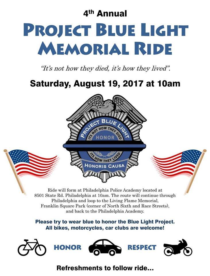 Project Blue Light Memorial Ride to Stop Police Suicide - bikes, motorcycles, cars