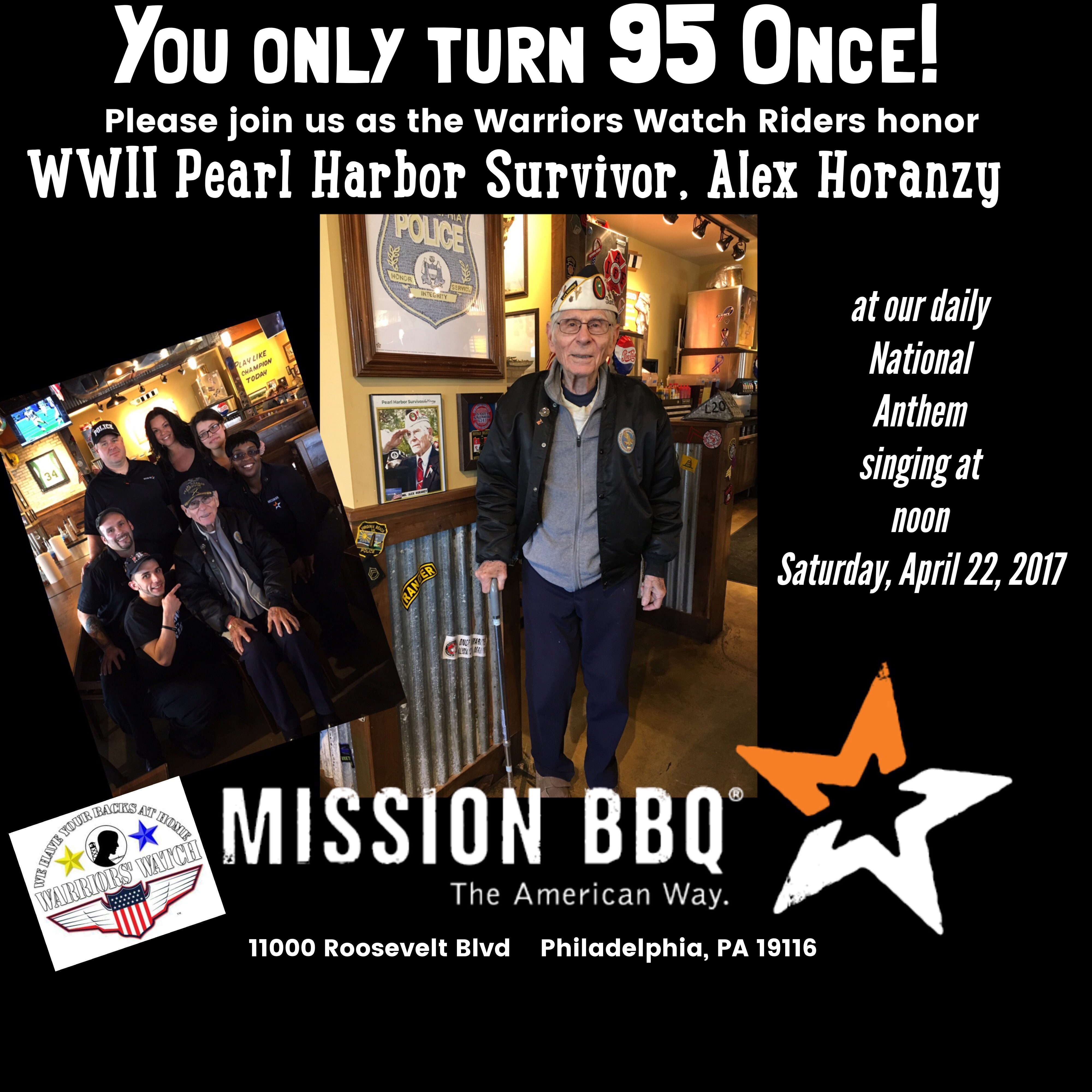 Pearl Harbor Survivor, Alex Horanzy's 95th Birthday honored at MISSION BBQ Philadelphia