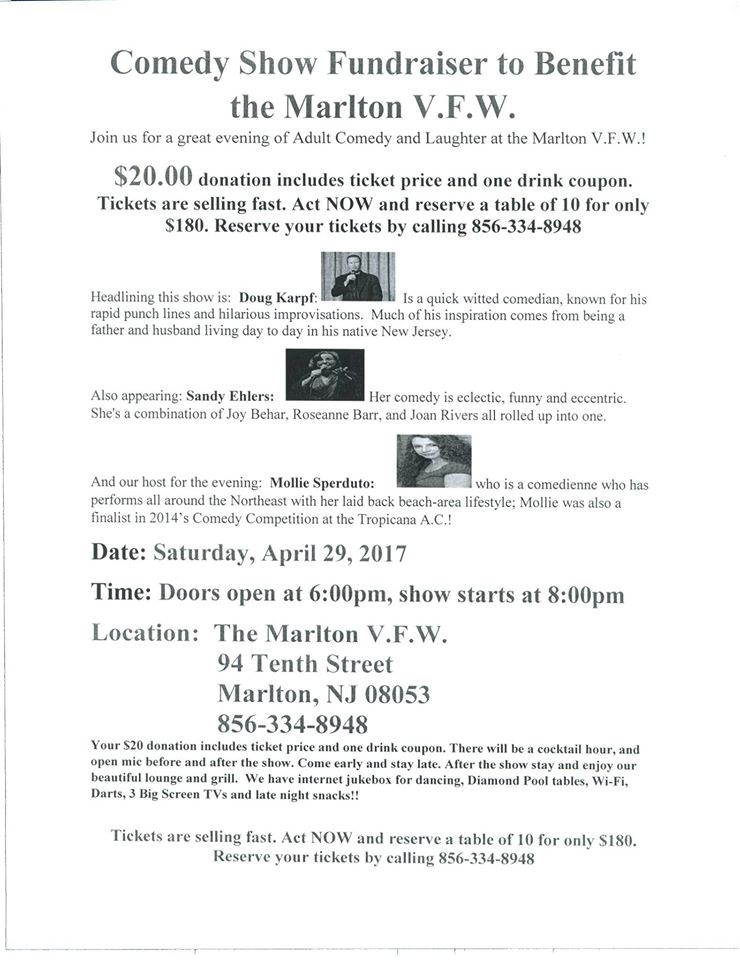 Comedy Night Fundraiser to Benefit the Marlton VFW