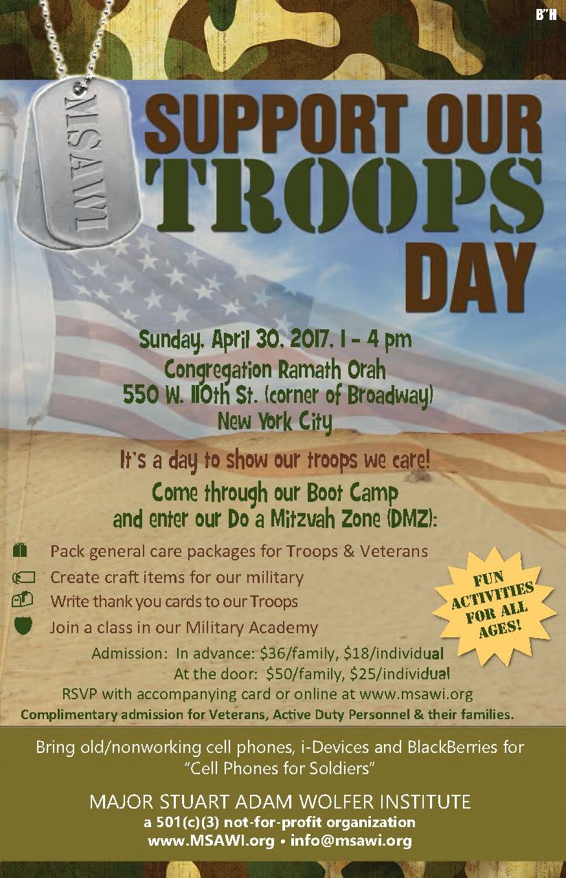 Major Stuart Adam Wolfer Institute-MSAWI.ORG--8th Annual Support Our Troops Day