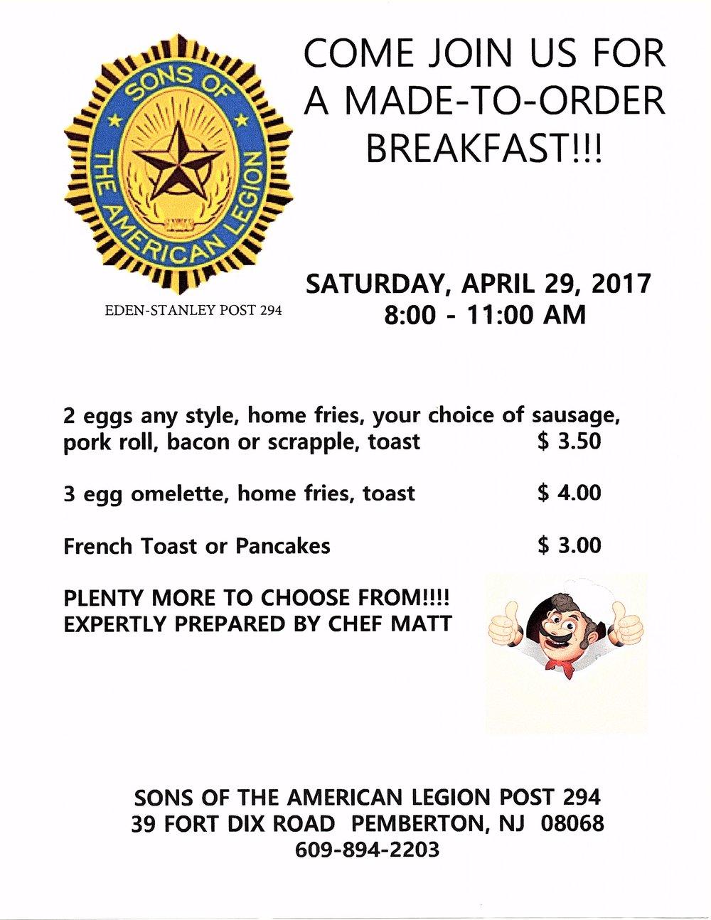 Made to order Breakfast - Amer Leg