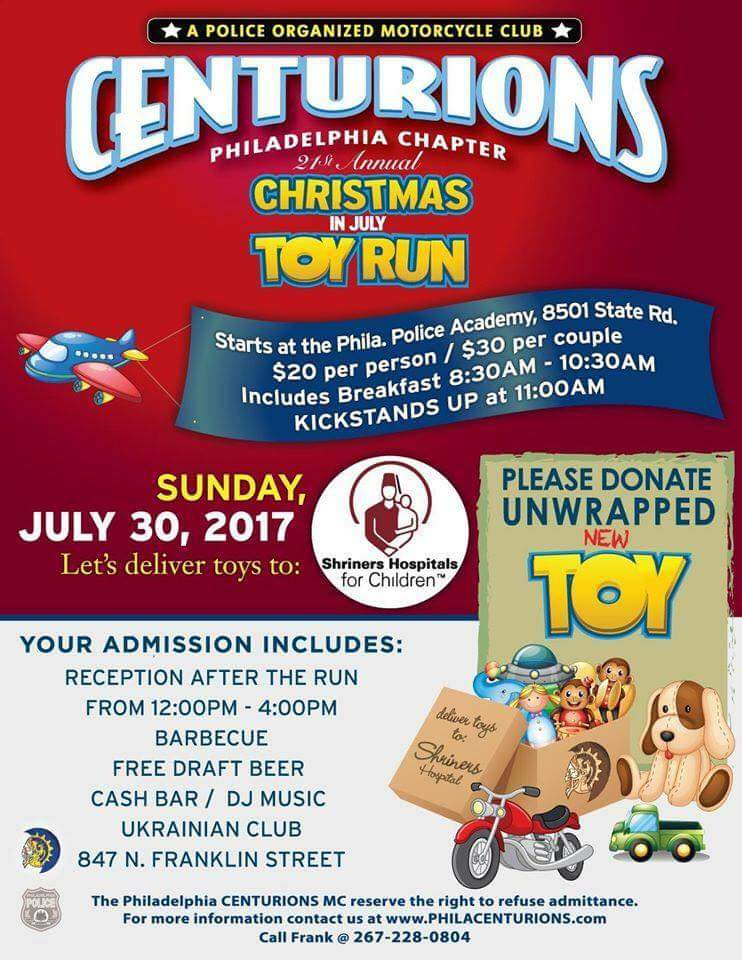 21st Annual Christmas in July Toy Run - Centurions