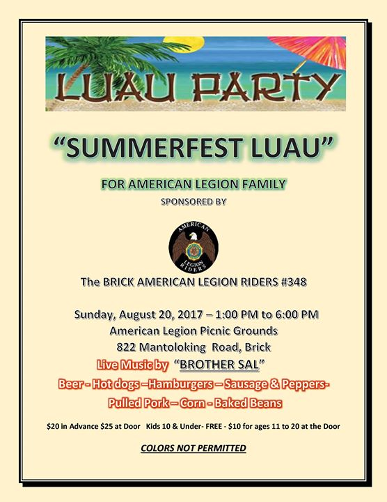 American Legion Brick Post 348 Riders Summer-fest Luau