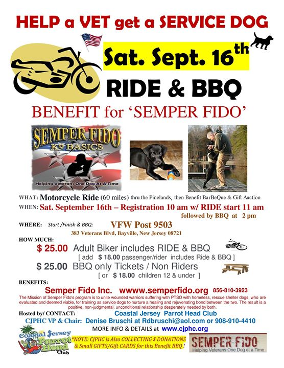 Semper Fido - Motorcycle Ride, Barbeque and gift auction