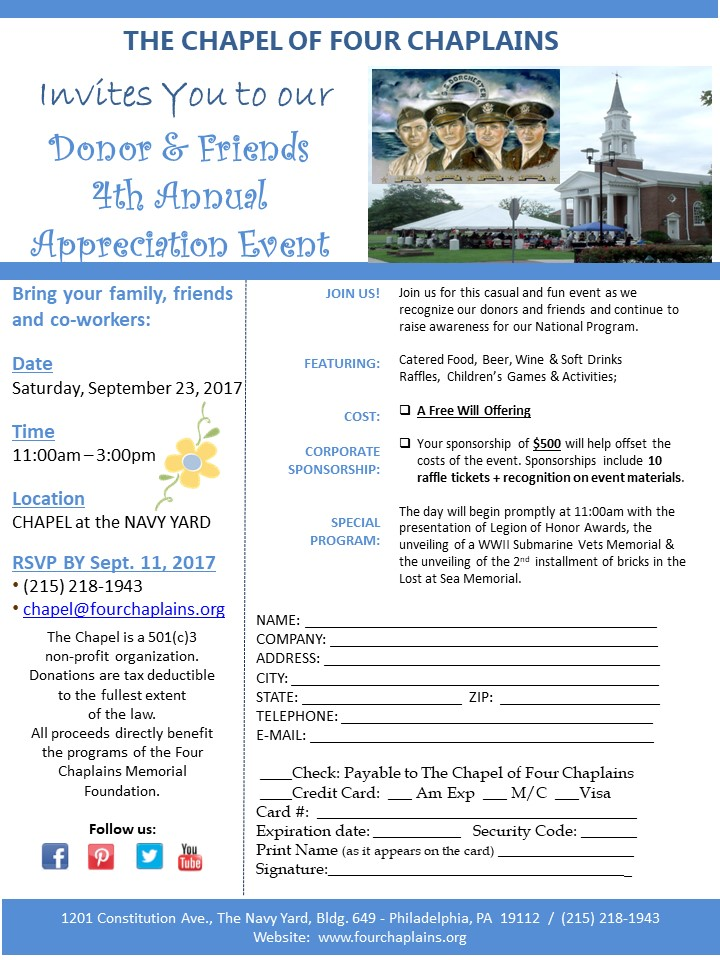 4th Annual Donor & Friends Appreciation Event for The Chapel of Four Chaplains