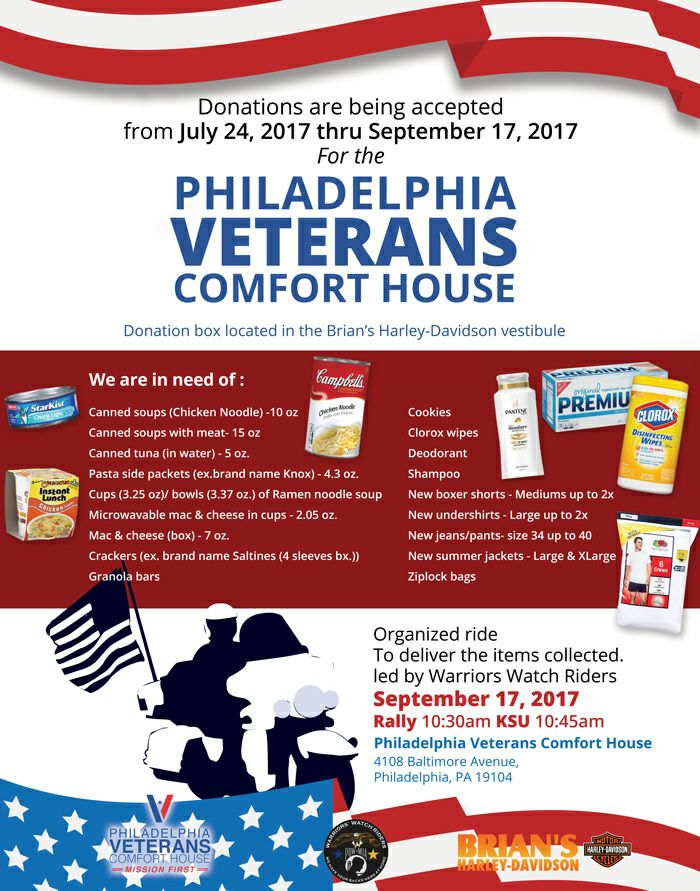 Donations for Philadelphia Veterans Comfort House