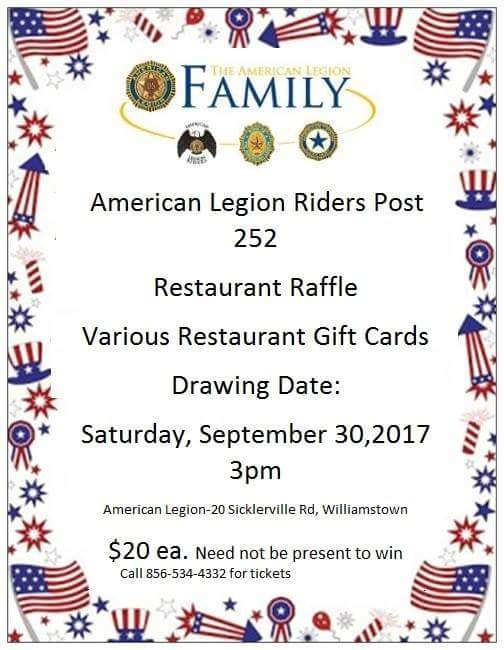 Raffle for Restaurant Gift Cards - Amer Leg Riders