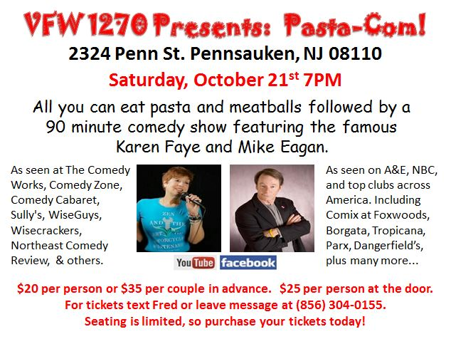 Pasta-Com Comedy Night - SOLD OUT !