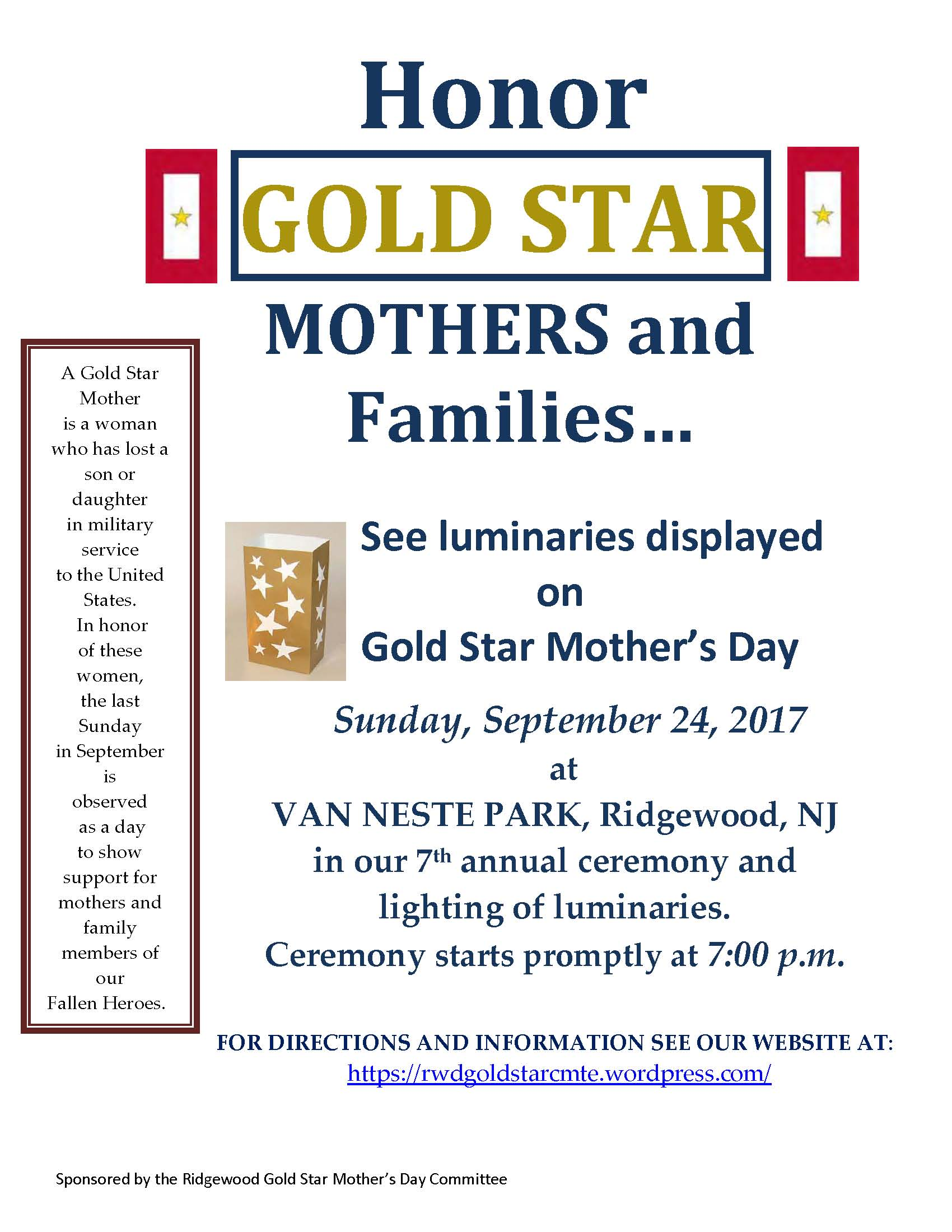 Gold Star Mother's Day Ceremony