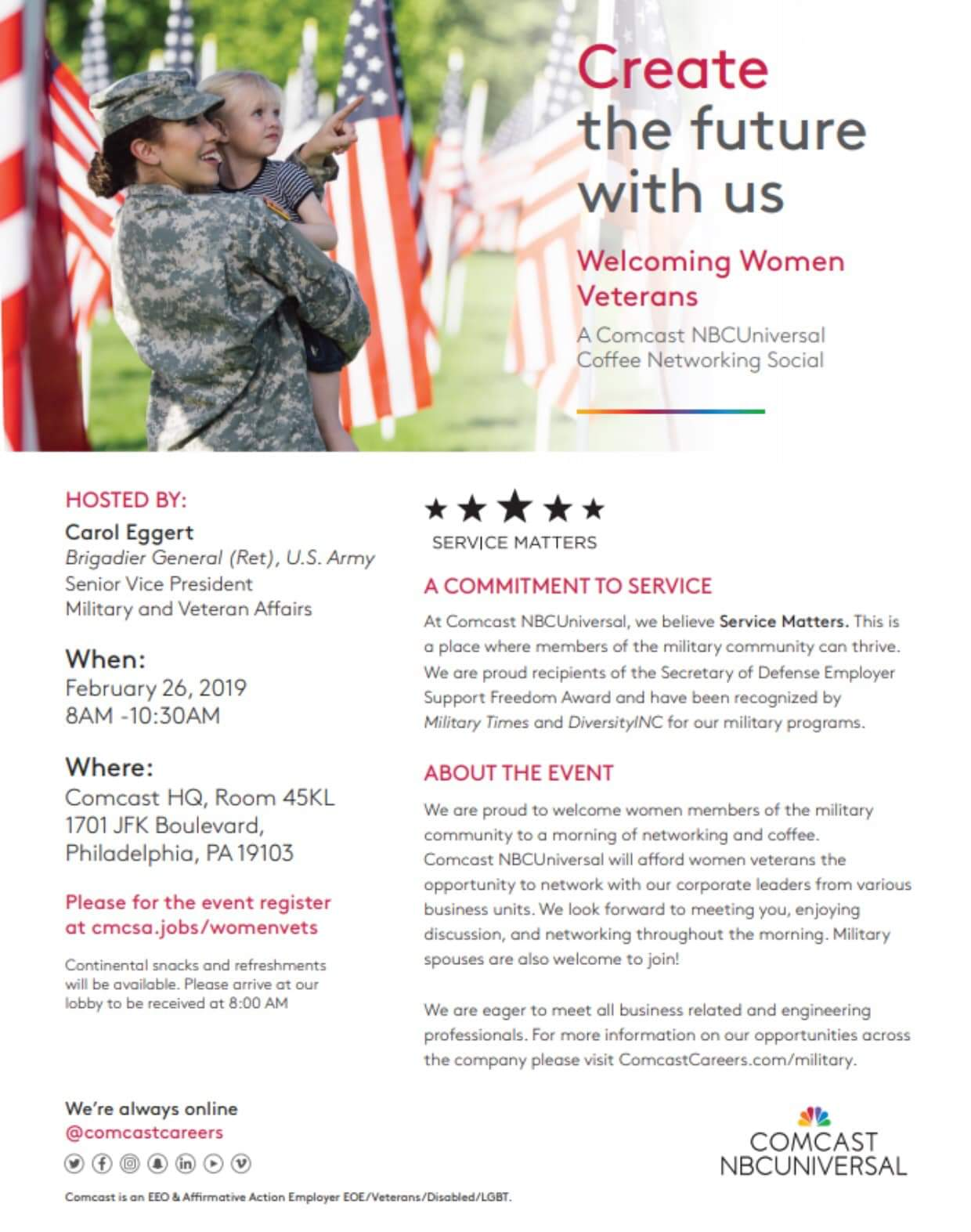 4c2f3f8f6 Create the future with us. Welcoming Women Veterans. We are proud to  welcome women members of the military community to a morning of networking  and coffee ...